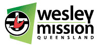 Green and red logo of Wesley Mission Queensland. Red bird inside a circle with an anchor.